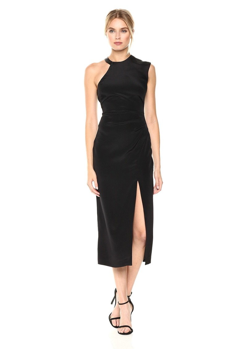 Nicole Miller Women's Silk Ruched Dress W/High Slit Black