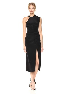 Nicole Miller Women's Silk Ruched Dress with High Slit