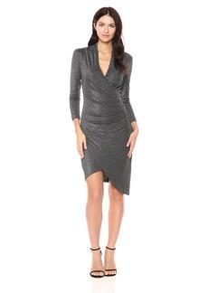 Nicole Miller Women's Silver Glitz Vneck Asymm Dress  L