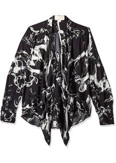 Nicole Miller Women's Smoke Printed Silk Blouse W/Option to Tie Grey Multi (grm) S