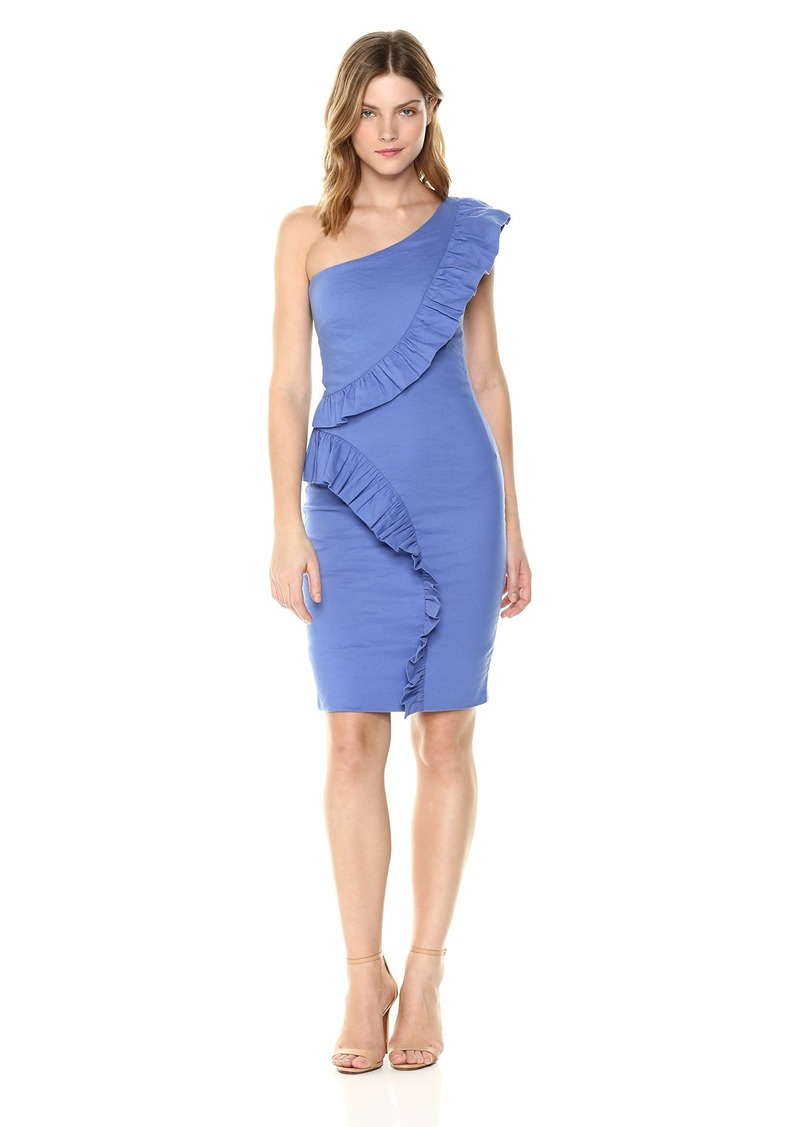 Nicole Miller Women's Solid Cotton Metal One Shoulder Ruffle Dress
