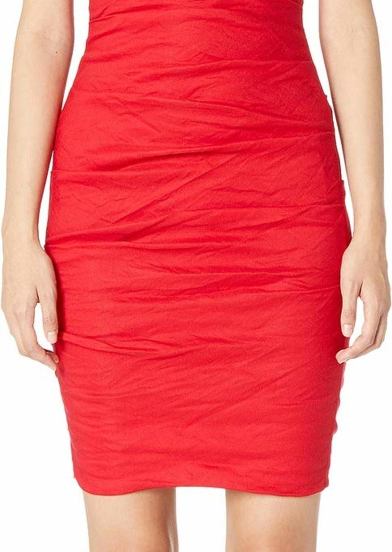 Nicole Miller Women's Solid Cotton Metal Plunge Dress Lipstick red