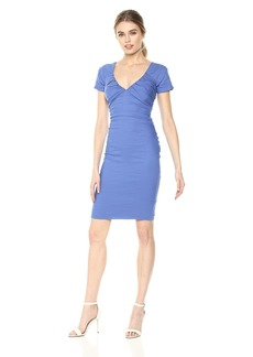 Nicole Miller Women's Solid Cotton Metal Tie Front Dress