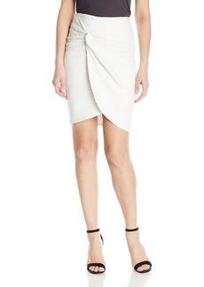 Nicole Miller Women's Solid Cotton Metal Wrap Skirt