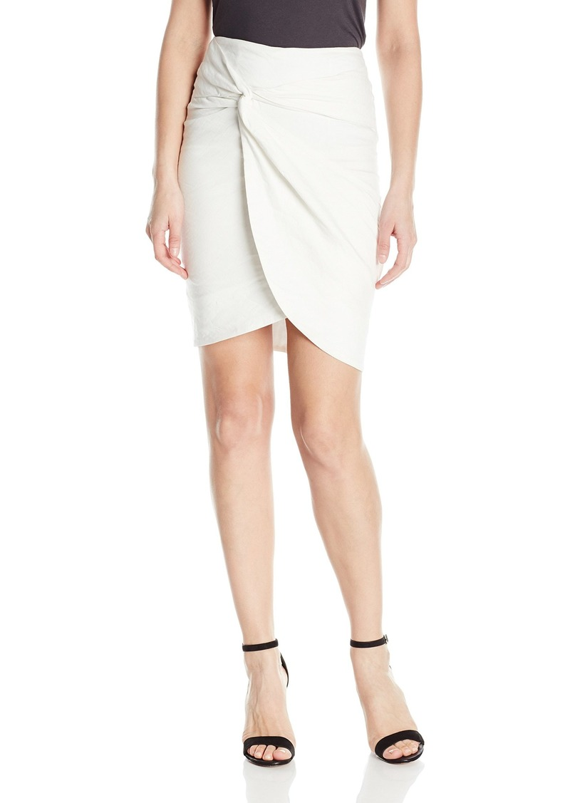 Nicole Miller Women's Solid Cotton Metal Wrap Skirt White