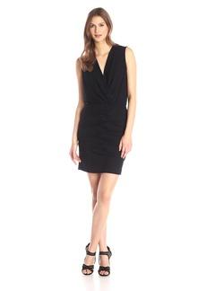 Nicole Miller Women's Solid Jersey Low V-Neck Dress