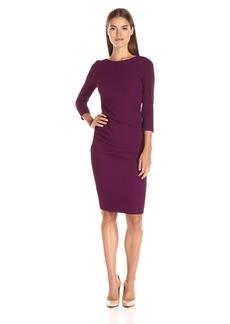 Nicole Miller Women's Solid Pebble Stretch Christina Dress Byzantium