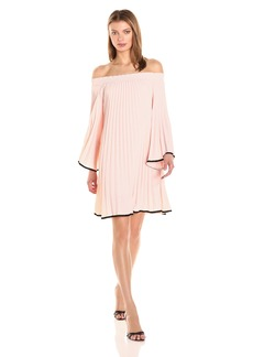 Nicole Miller Women's Solid Poly Crepe Pleated Long Sleeve Dress  P