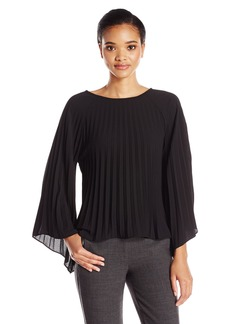 Nicole Miller Women's Solid Poly Crepe Pleated Long Sleeve Top