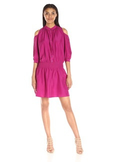Nicole Miller Women's Solid Poly Habotai Smocked Shirt Dress with Buttons