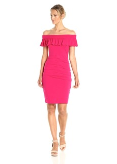 Nicole Miller Women's Solid Rayon Off the Shoulder Dress  S