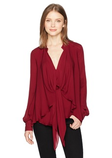 Nicole Miller Women's Solid Silk Blouse W/Option to Tie Oxblood/oxy Blue M