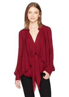 Nicole Miller Women's Solid Silk Blouse W/Option to Tie  S