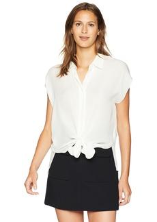 Nicole Miller Women's Solid Silk Button Down Shirt  L