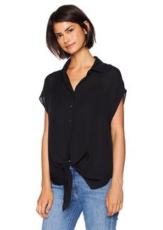 Nicole Miller Women's Solid Silk Button Down Shirt  S