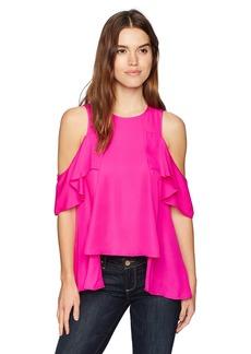 Nicole Miller Women's Solid Silk Cold Shoulder Ruffle Tank neon Pink M