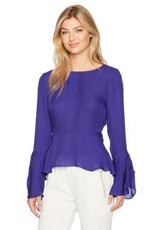 Nicole Miller Women's Solid Silk GGT Bell Sleeve Top Blue Oasis (bos) L