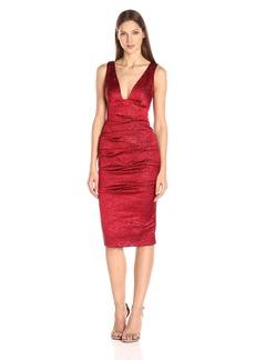 Nicole Miller Women's Solid Stretch Crinkle Plunge Tuck Dress
