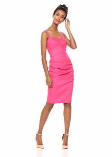 Nicole Miller Women's Solid Stretch Linen Tuck Dress