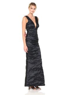 Nicole Miller Women's Solid Techno Metal Plunge Gown Navy