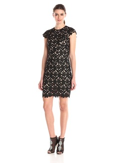 Nicole Miller Women's Solid Venice Lace Cap Sleeve Dress