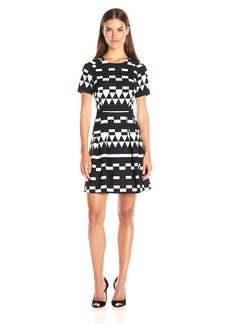 Nicole Miller Women's Spatial Geometric Techy Crepe Dress