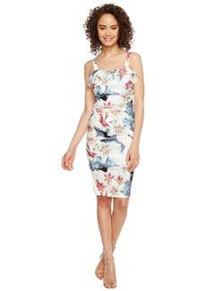Nicole Miller Women's Spring Chambray Stretch Linen Ruffle Dress Multi/CBM