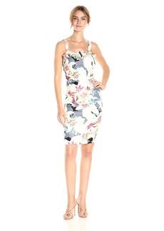 Nicole Miller Women's Spring Stretch Linen Ruffle Dress