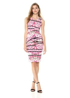 Nicole Miller Women's Stamped Paisleys Sleeveless Tidal Pleat Dress  L