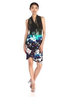 Nicole Miller Women's Stefanie Dress in Misty Flowers Print Asymetrical Hem