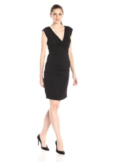 Nicole Miller Women's Stretch Crepe V-Neck Dress