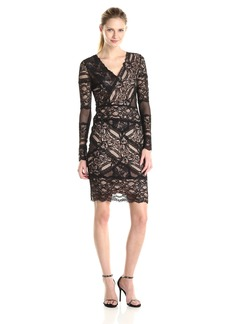 Nicole Miller Women's Stretch Lace V-Neck Long Sleeve Dress