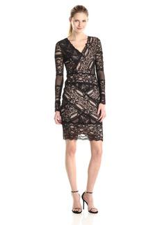 Nicole Miller Women's Stretch Lace V-Neck Long Sleeve Dress