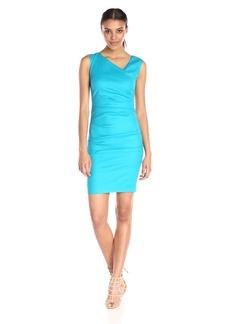 Nicole Miller Women's Stretch Linen Asymmetrical Tuck Dress