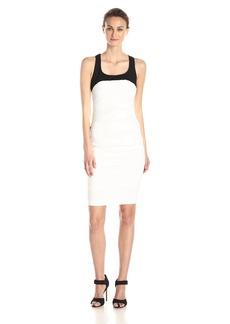 Nicole Miller Women's Stretch Linen Combo Tuck Dress