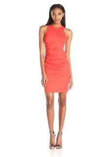 Nicole Miller Women's Stretch Linen High Neck Tuck Dress