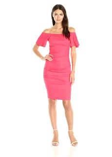 Nicole Miller Women's Stretch Linen Off Shoulder Tuck Dress