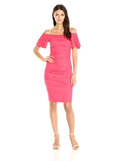 Nicole Miller Women's Stretch Linen Off Shoulder Tuck Dress Snapdragon/SPD
