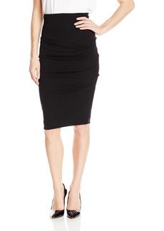 Nicole Miller Women's Stretchy Matte Jersey Tuck Skirt