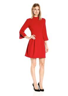 Nicole Miller Women's Stretchy Tech 3/4 Slv Mock Neck Dress