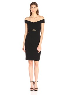 Nicole Miller Women's Structured Heavy Jersey Dress Withcutout Detail