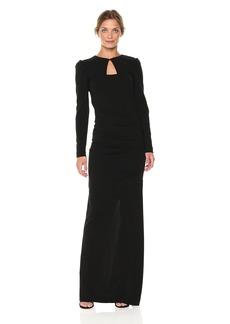 Nicole Miller Women's Structured Heavy Jersey L/s Tie Back Gown Black