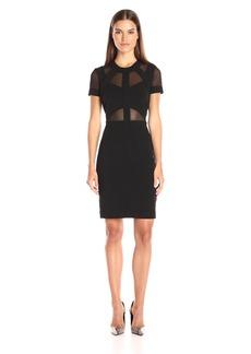 Nicole Miller Women's Structured Heavy Jersey Mesh Combo Dress