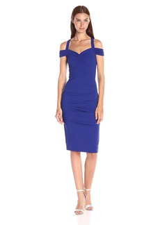 Nicole Miller Women's Structured Heavy Jersey Off Shoulder Dress With Ruching