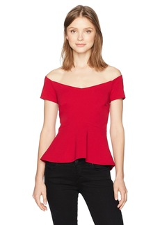 Nicole Miller Women's Structured Heavy Jersey Off Shoulder Top red M