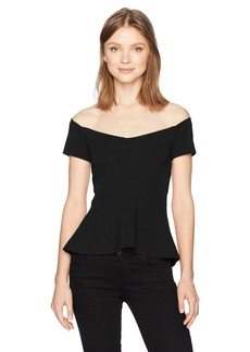 Nicole Miller Women's Structured Heavy Jersey Off Shoulder Top  S