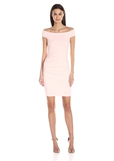 Nicole Miller Women's Structured Jersey Off Shoulder Dress