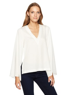 Nicole Miller Women's Summer Solids Bell Sleeve Top White L
