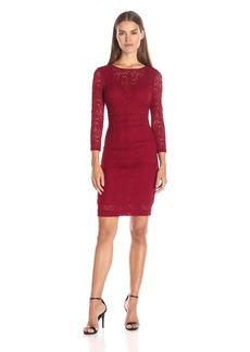 Nicole Miller Women's Swirly Roses Lace Illusion 3/4 Slv Dress