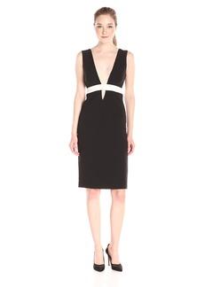 Nicole Miller Women's Techy Crepe Low V Neck Dress